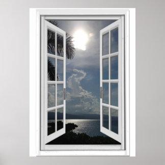Seeansicht Trompe - L ' oeil Fake-Fenster Poster