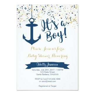 SeeBabyparty-Einladungs-Marine und Gold Karte