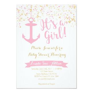SeeBabyparty-Einladungs-Rosa und Gold Karte