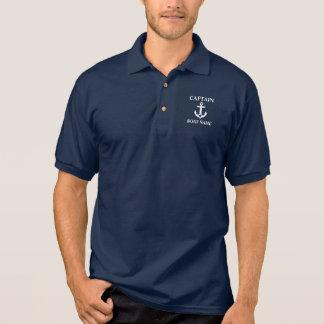 Seeblau-Polo kapitän-Boat Name Anchor Star Polo Shirt
