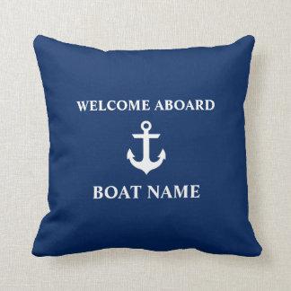 Seeblau-Willkommen an Bord des Kissen