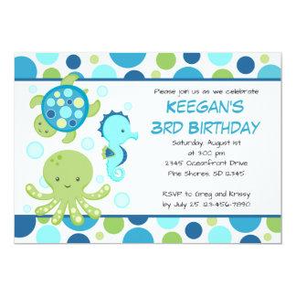 Seeblaue Geburtstags-Einladungen Karte