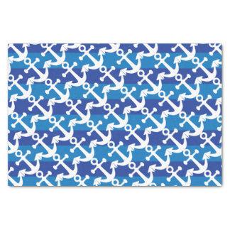 Seeblaue Streifen der | Weiß-Anker-| Seidenpapier