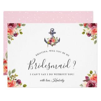 Seeblumenanker sind Sie meine Brautjungfer Karte