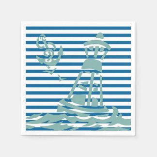 Seebojen-blauer und weißer horizontaler Streifen Papierserviette