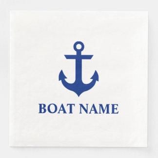 Seeboots-Namen-Anker-Weiß-Abendessen Servietten