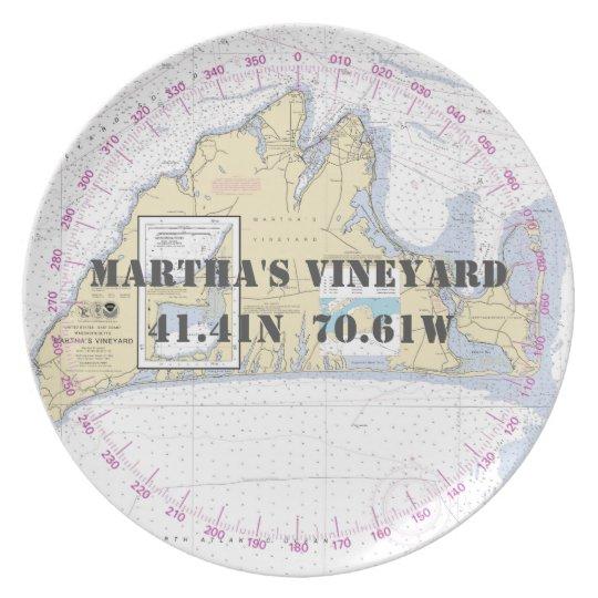 Seebreite-Länge-Martha's Vineyard Melaminteller