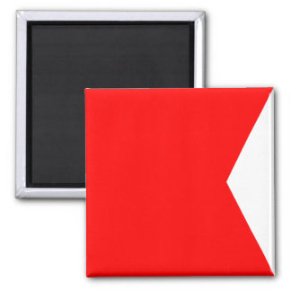 Seeflaggen-Signal-Buchstabe B (Bravo) Quadratischer Magnet