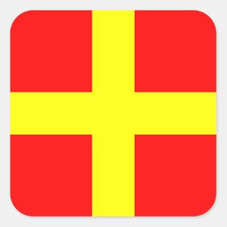 Seeflaggen-Signal-Buchstabe R (Romeo) Quadratischer Aufkleber