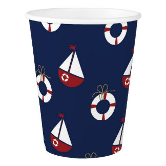 Seegeburtstags-Party-Ozean-Muster-Papierschalen Pappbecher