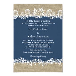 Seegirlanden-Marine-Blau-Hochzeit Karte