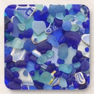 Seeglas, Strandglas, blaue Aqua-Foto-Untersetzer Untersetzer