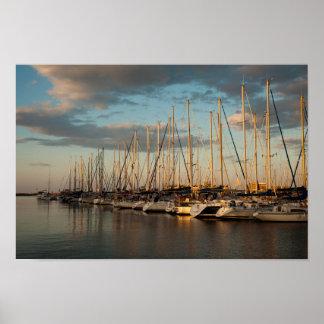 Seehafen am Sonnenuntergangplakat Poster