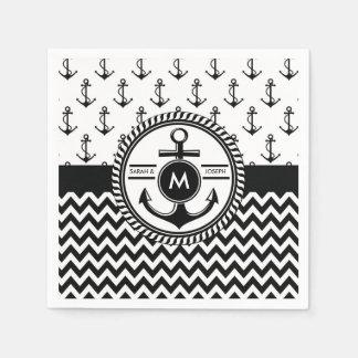 Seehochzeits-Braut-und Bräutigam-Namen-Monogramm Servietten