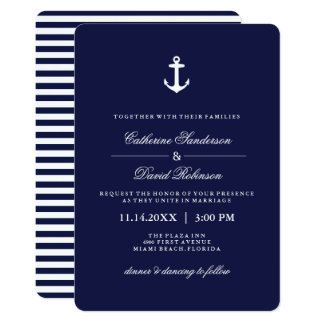 Seehochzeits-Einladungen mit Marine-Streifen Karte