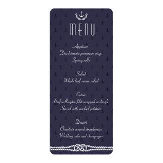 Seehochzeits-Menü mit blauen Ankern Karte