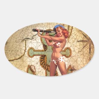 Seekarten-Strandbikini Button herauf Ovaler Aufkleber