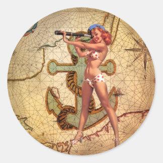 Seekarten-Strandbikini Button herauf Runder Aufkleber
