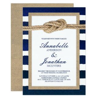 Seeknoten-Leinwand-u. Aquarell-Marine-Streifen 12,7 X 17,8 Cm Einladungskarte