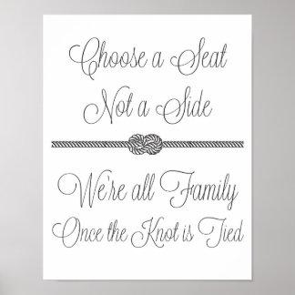 Seeknoten wählen ein Seitenhochzeits-Zeichen Seats Poster