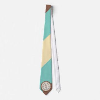 Seekompaß auf Vintagem Retro blauem Sahnebrown Bedruckte Krawatten