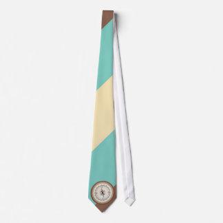 Seekompaß auf Vintagem Retro blauem Sahnebrown Krawatte