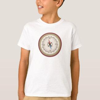 Seekompaß auf Vintagem Retro blauem Sahnebrown T-Shirt