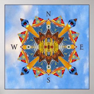 Seekompass-Kaleidoskop-Kunst-Druck Poster