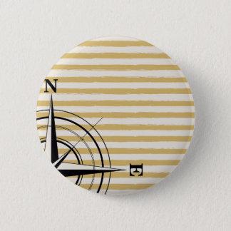 Seekompaß NSEW Stripes Elfenbeintaupe-Schwarzes Runder Button 5,1 Cm