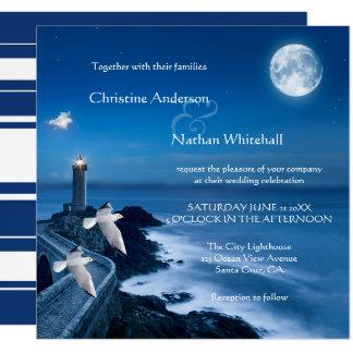 Seeküstenleuchtturm-Hochzeits-Einladung Karte