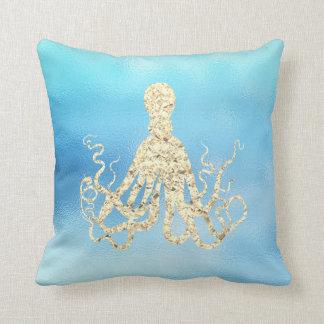 Seeleben-Ozean-Aqua Ombre Tiffany goldene Krake Kissen