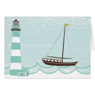 Seeleuchtturm-und Segel-Boots-Anlass-Auto Karte