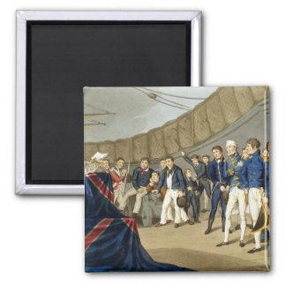 Seeleute am Gebet an Bord Schiffs Lord-Nelsons Quadratischer Magnet