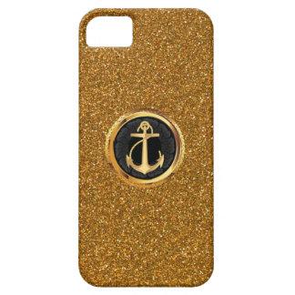 Seemann-Anker-Emblem-GoldGlitzer iPhone 5 Fall Etui Fürs iPhone 5