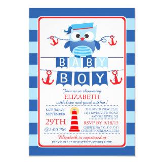 Seemann-Eulen-Seejungen-Babyparty-Einladung 12,7 X 17,8 Cm Einladungskarte