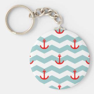 Seemann oder Seemuster auf weißem und blauem Schlüsselanhänger