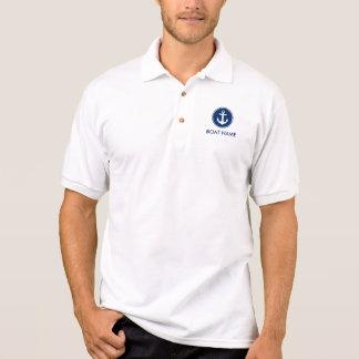 Seemarine-Blau-Anker-Boots-Namen-Polo-Shirt M Polo Shirt