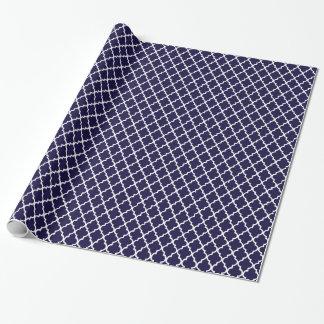 Seemarine-Blau Quatrefoil Geschenkpapier