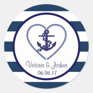 Seemarine-Blau-weiße Streifen-Anker-Hochzeit Runder Aufkleber