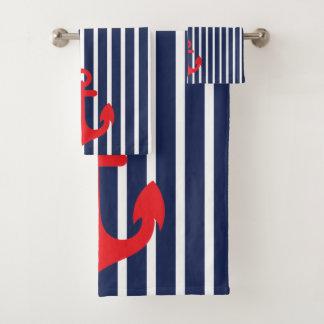 Seemarine-blaue Streifen-Rot-Anker Badhandtuch Set