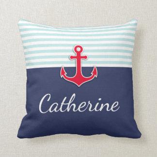 Seemarine-blaues Rot-Anker fertigen Kissen
