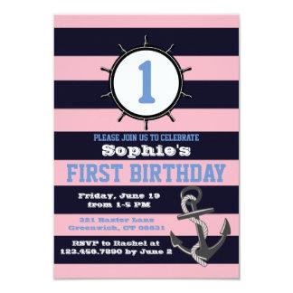 Seemarine-erste Geburtstags-Einladungen Pink&Blue Karte
