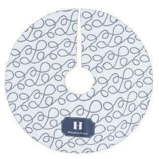 Seemarine-Seil-Monogramm Polyester Weihnachtsbaumdecke