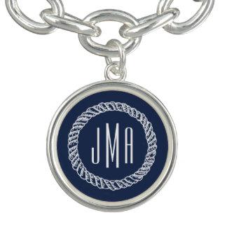 Seemarine u. weißes Seil-Monogramm Charm Armband