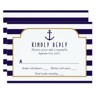Seemarine u. weißes Streifen-Anker-Hochzeit UAWG Karte