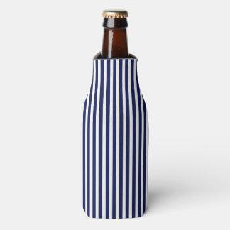 Seemarine und weiße Cabana-Streifen Flaschenkühler