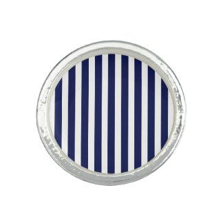 Seemarine und weiße Cabana-Streifen Ring