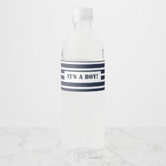 Seemarine und weiße Streifen ist es ein Junge Wasserflaschenetikett