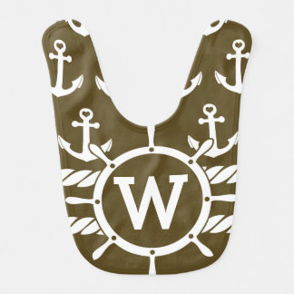 Seemonogramm-personalisierte Brown-Anker Babylätzchen