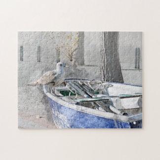 Seemöwe auf Boots-Aquarell Puzzle